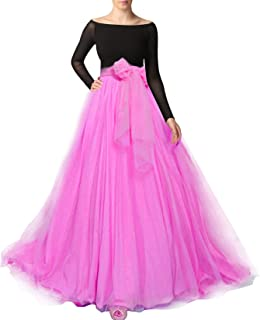 Women Maxi Long Tulle Skirt Floor Length with Bowknot High Waisted for Wedding Party Dress