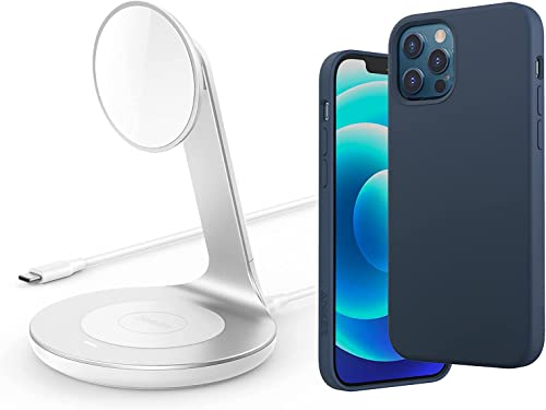 lowest Anker iPhone 12/12 Pro Magnetic wholesale Silicone Case, 6.1 Inches 2021 (Dark Blue) & Anker Wireless Charger online sale