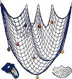 Tweal Dekoratives Fischernetz,Fischernetz Deko,Mediterranen Stil Fischerei Dekorative mit Farbigen Muscheln,für Wand Bar Party Decor Fotografie Dekoration 100 x 200 cm,Blau