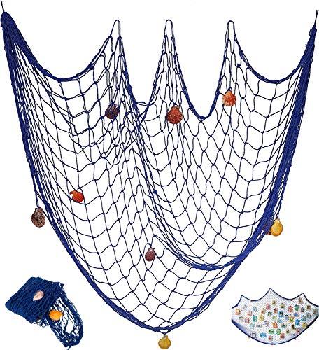 Tweal - Red de pesca decorativa, diseño náutico con conchas de mar, estilo mediterráneo, para decoración de fiestas y pared, 78 x 39 pulgadas, color azul