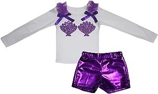 Petitebella Girls' Mermaid Shells White L/S Cotton Shirt Bling Short Set