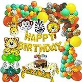 MMTX Dschungel Geburtstagsdeko Jungen- Kindergeburtstag Deko Happy Birthday Luftballons Girlande mit Safari Latex Luftballons und Wald Tier für Kinder Mädchen Geburtstag Dekoration Mehrweg(78 Stück)