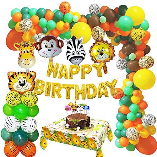 MMTX Selva Decoraciones Cumpleaños de Fiesta, Globo de Fiesta de Feliz cumpleaños Safari con Globos de látex, Globo de Animales del Bosque, Cubierta de Mesa Salvaje para niño, niña cumpleaños Decor