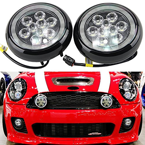 Led Rally Lights for Mini Cooper - NSLUMO 2pcs/set Led Rally Driving Light With Halo Ring Angel Eyes DRL Black Shell Daylight Kits for Mini R55 R56 R57 R58 R60 R61 F56 (Black Shell)