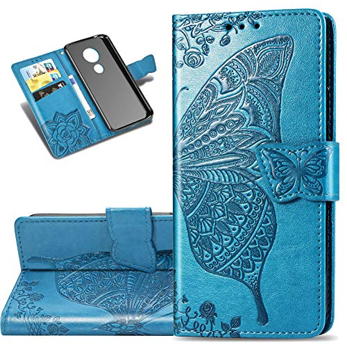COTDINFOR Etui für Motorola Moto G7 Power Hülle PU Leder Schutzhülle Magnet Tasche Flip Handytasche im Bookstyle Lederhülle für Motorola Moto G7 Power Flower Butterfly Blue SD