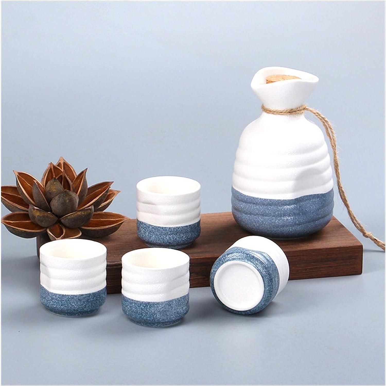 Juego de recipientes para Beber, Olla de Sake Japonesa con 4 Tazas, saka, cerámica, Vino, Licor, Licor, Vasos de chupito, Kit de destilador Esmerilado, Vodka (Color: Azul)