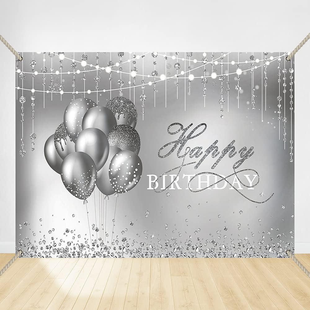 Felizotos Inexpensive Diamond Silver Happy Birthday G Women Backdrop Balloon Fees free!!