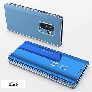 TiHen Funda Samsung Galaxy S7,Funda + Cristal Templado 2 Piezas Flip Clear View Translúcido Espejo Standing Cover Slim Fit Mirror 360°Protectora Cubierta para Samsung Galaxy S7 Azul