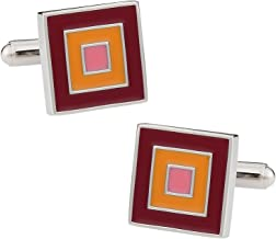 Pink and Orange Square Cufflinks with Presentation Box Concentric Enamel Maroon