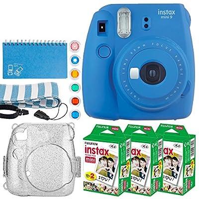 Fujifilm Instax Mini 9 Instant Camera + Fujifilm Instax Mini Twin Pack Instant Film (60 Exposures) + Glitter Hard Case + Scrapbook Album + 6 Colored Lens Filters + Neck Strap from FUJIFILM