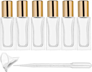 6Pcs 6ml (1/5 oz) DIY Travel Essential Oil Roller Bottle Rectangle Clear Glass Cosmetic Contaners Vials for Essential Oils Perfumes Aromatherapy, 1pc Funnel and Dropper, Roll on Bottles with Gold Cap