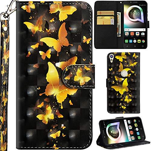 Ooboom Alcatel Shine lite 5080X Hülle 3D Flip PU Leder Schutzhülle Handy Tasche Hülle Cover Ständer mit Trageschlaufe Magnetverschluss für Alcatel Shine lite 5080X - Gold Schmetterling