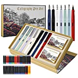 GC Quill Calligraphy Pen Set, 7 Calligraphy Fountain Pens with Different Nibs and 40 Ink Cartridges, Calligraphy Set for Beginners- MU-09