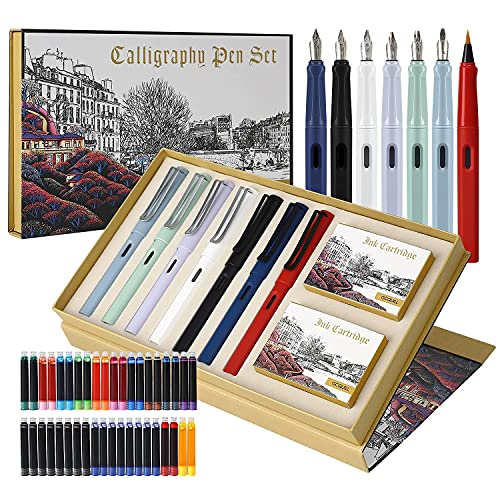 7 Penne Stilografiche per Calligrafia con Diversi Pennini e 40 Cartucce d'inchiostro, Set per Calligrafia per Principianti – MU-09