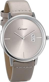 JewelryWe Men Women Watches Luxury Simple Quartz Calendar Watch Genuine Leather Wristwatch