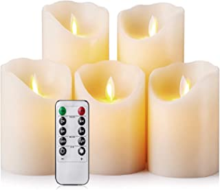 Flameless Candles LED Candles Realistic Moving Set of 5 Ivory Battery Candles Real Wax Pillar with 10-key Remote Control Timer- 2/4/6/8 Hours