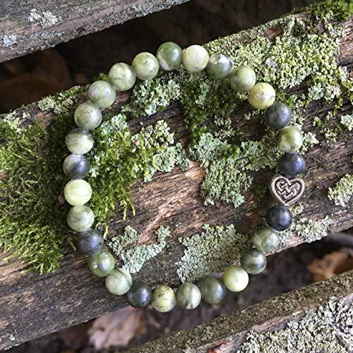 Green Connemara Marble Bracelet Beaded, Celtic Heart Love Knot, Irish Jewelry Gift Idea for Mom, Grandma