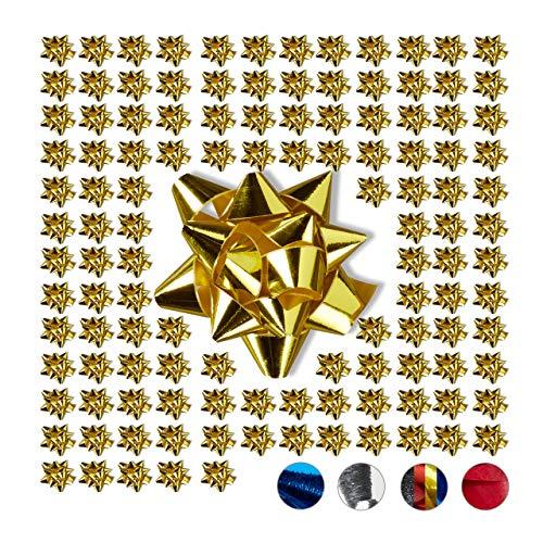 Relaxdays Geschenkschleifen 100er Set, Selbstklebend, Kleine Dekoschleifen für Weihnachten & Geburtstag, Ø 5 cm, Gold