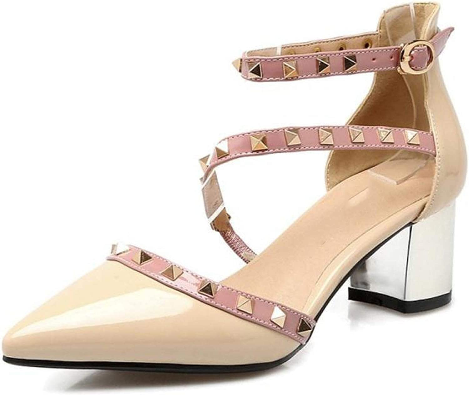 Rivets Buckle Sandals Pointed Toe Heels shoes Women Ankle Strap Party Wedding Footwear