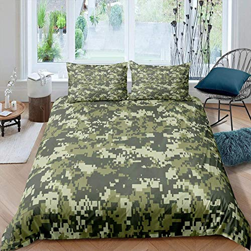 XADITON 3D Duvet Cover Bedding Set Duvet Cover And Pillowcase 260 Cm x 230 Cm Camouflage army green printed abstract mosaic pattern with Zipper Closure ,for Girls Ultra Soft Hypoallergenic Microfiber