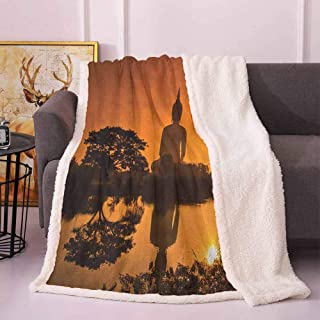 Winter Blanket Big Giant Statue by The River at Sunset Thai Culture Scene Yin Yang Print Bed Blankets Burnt Orange 50