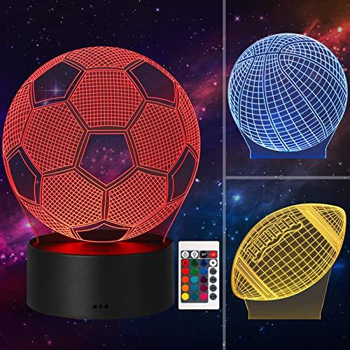 3D Illusion Nachtlicht Nachttisch Nachttisch LED Nachtlampen Sockel mit Acryl Batterie & USB Betriebener Nachtlichtfernbedienung 16 Farben + Base Touch 7 Farben für Wohnkultur Weihnachtskindergeschenk