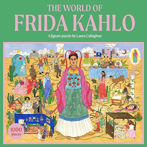 Rompecabezas y póster con Cita de Retrato Kahlo de 500 Piezas | Ilustrado | Día lluvioso, En casa, Bloqueo, cumpleaños, Boho, Colores Rosa, (PUZZ PMU Frida)