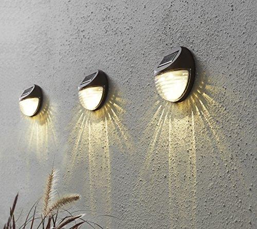 Kamaca 3er Set LED SOLAR Wandleuchte wetterfeste Solar Außenleuchte Sicherheitslicht zur Vermeidung von Stürzen je 2 warm Weisse LED Sorgen für helle Ausleuchtung (3er Set LED Solar Wandleuchte)