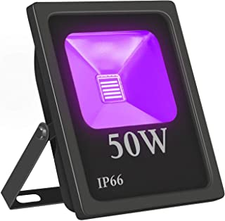 UV Led Black light, IndMire 50W UV Led Flood Light, UV BlackLight,85V-265V AC IP66 Waterproof for Blacklight Party,Stage L...