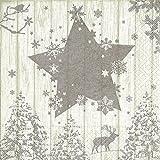 20 tovaglioli con scena invernale argento/cervo/stella/alberi/Natale, 33 x 33 cm