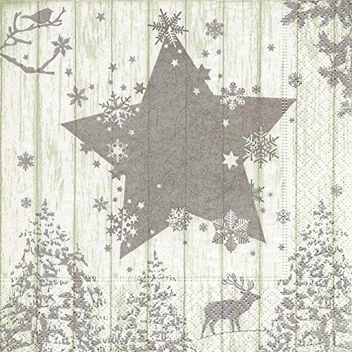 20 Servietten Winterszene silber/Hirsch/Stern/Bäume/Weihnachten 33x33cm