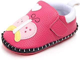 Kuner Toddler Baby Girls Boys Pu Leather Cartoon Handmade Soft Bottom Non-Slip First Walkers Shoes