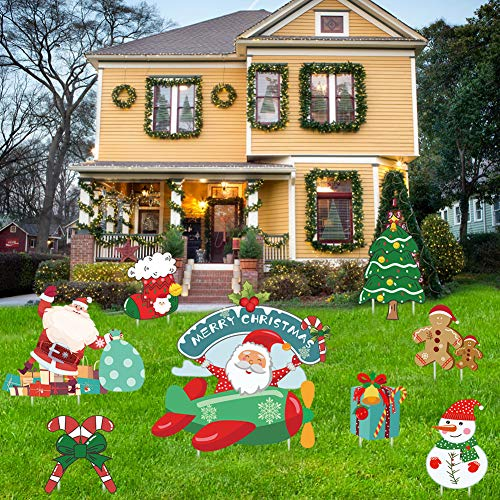 Wironlst Christmas Yard Signs Outdoor Decorations - Xmas Outdoor Lawn YardSigns with Stakes for Christmas Holiday PartyDecorations, Pack of 8