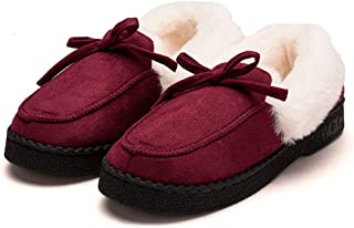 Women Outdoor Slippers Fur Lined Suede Comfort House Cotton Shoes Winter Non-Slip Thick Bottom Indoorr Moccasins