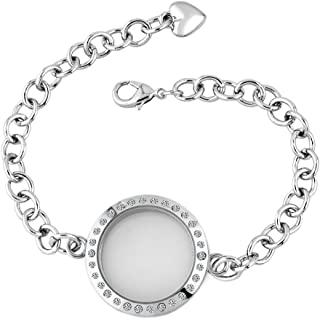 Corykeyes Glass Living Memory Link Locket Bracelet for Floating Charms