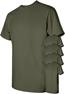 Men's Classic Heavy Cotton T-Shirt, Military Green, XL (Pack of 5)