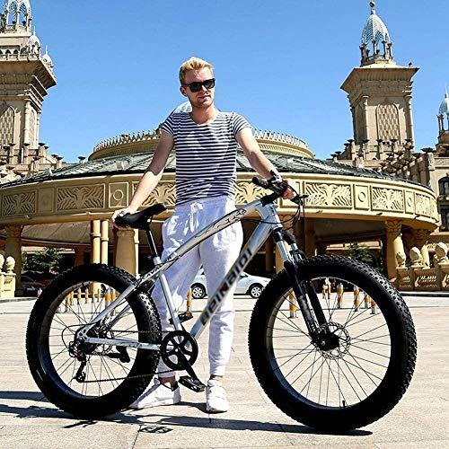 TOYSSKYR Mountainbikes 7-Zoll-26-fach Silber Doppelscheibenbremse Mountainbike Geländereifen Fett Mountainbike rutschen, Bergweg Fahrräder Kohlenstoffstahl für enwachsene Jugendfahrrad