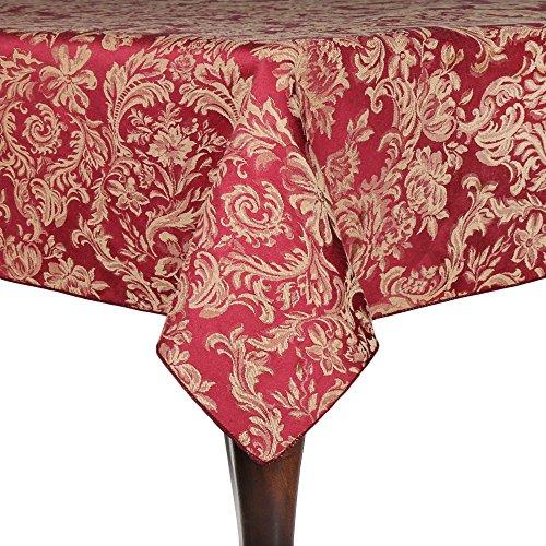 Ultimate Textile Miranda 70 x 144-Inch Rectangular Damask Tablecloth Bordeaux