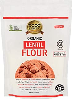 COCO EARTH Certified Organic Lentil Flour 300g | Gluten Free, Plant Protein, 300 g