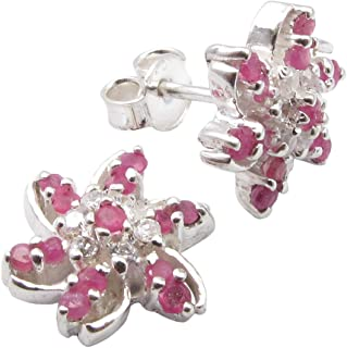 SilverStarJewel 1.5 x 1.5 mm Cut Ruby Flower Stud Earrings 0.5