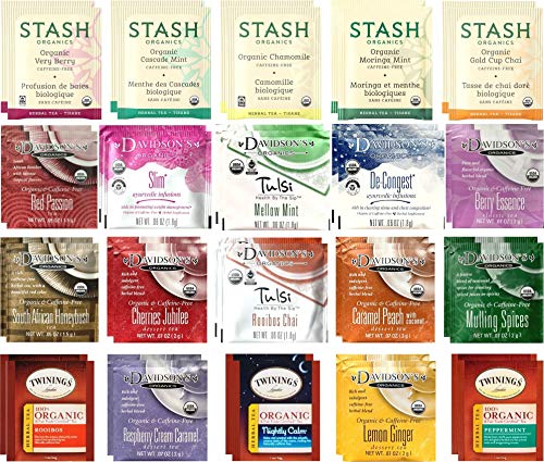 Organic Herbal Tea Bags Sampler Set - Caffeine Free Variety - 40 Ct 20 Flavors - Drawstring 100% Cotton Bag Included