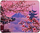 Blooming Cherry Blossoms Mouse Pad,Cherry Flower with Mount Fuji Mouse Pad by VIVIPOW(TM)
