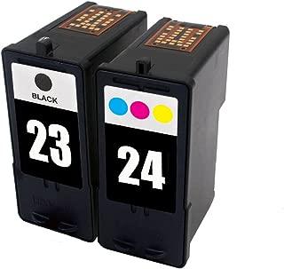 ESTON 2 Pack Replacements For Lexmark 23 Black 24 Color Ink Cartridges Fit X3530 X3550 X4530