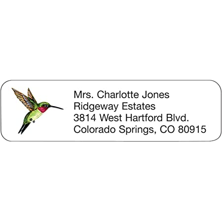 Return address label Set of 100 Custom Return Address Labels Hummingbird address label Address sticker. Self-adhesive address label