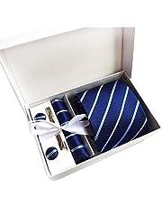 Treesing メンズ ネクタイ ピン カフス ボタン チーフ 5点セット 23色選択可能 ビジネス 就活 結婚式 入学式 卒業式 二次会 冠婚葬祭 パーティー 父の日 プレゼント ギフトボックス付き