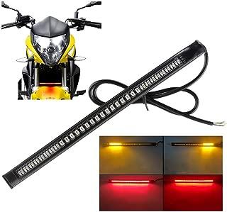 Sidaqi Universal LED motorcycle Tail Brake Turn Signal Strip Lights 48LED 8 Flexible for Harley Davidson