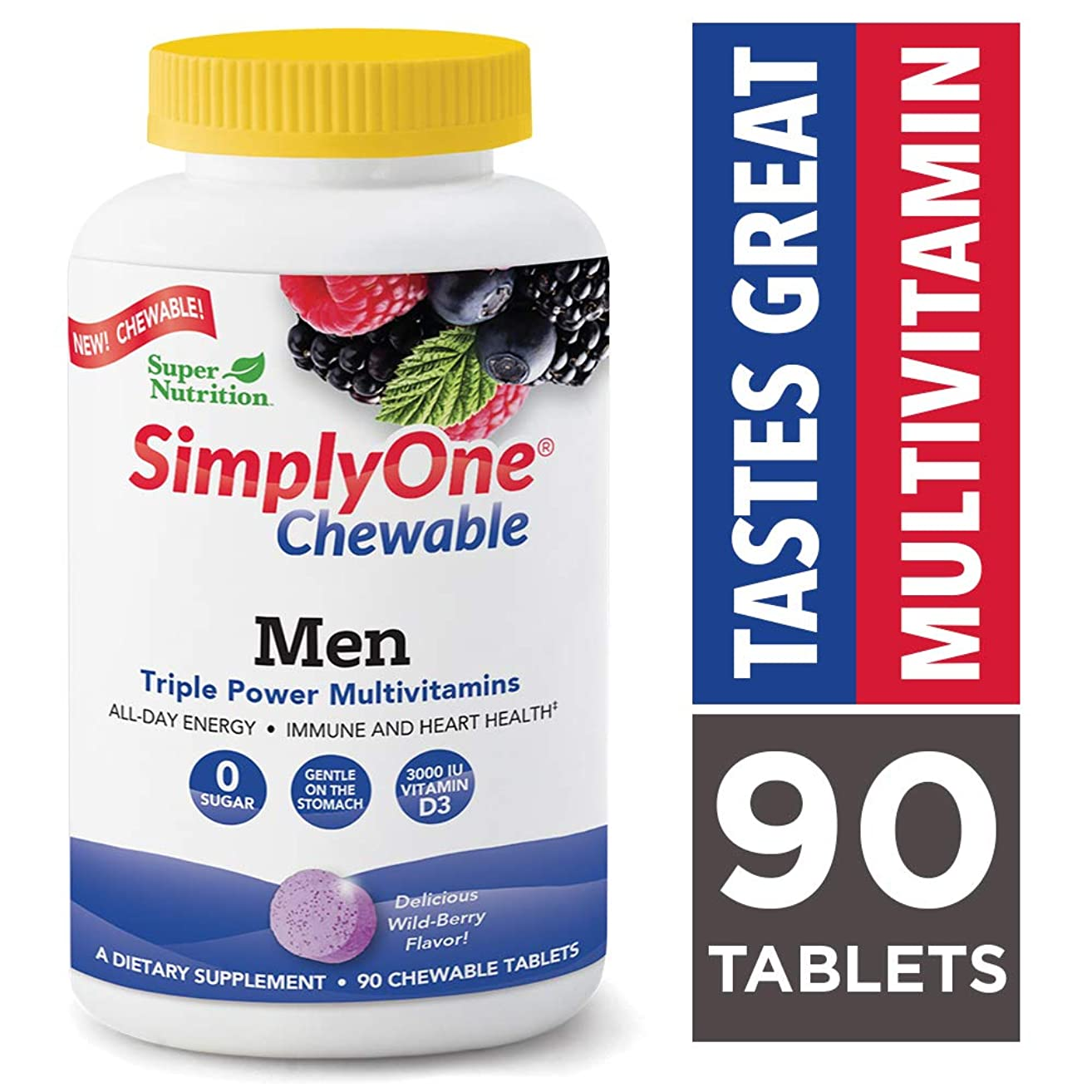 SimplyOne Chewable Multivitamin for Men, Daily All-in-One Vitamin by SuperNutrition, 90 Day Supply; Best Value Pack