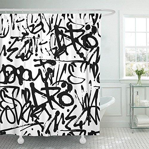 Emvency Duschvorhang Druck 168 x 183 cm Graffiti mit abstrakten Etiketten Buchstaben ohne Bedeutung Handmalerei Straße Retro Old School schwarz Polyester Stoff Badezimmer Set mit Haken 66x72 grau