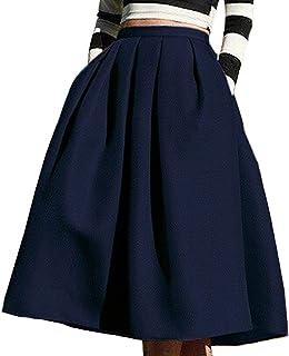 94e0f16639c Aswinfon Femme Jupe Patineuse Taille Haute Vintage Mi Longue Chic Rétro  Midi Jupe Plissée