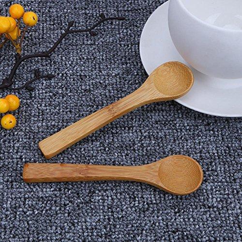Whitelotous 9pcs Deep Mouth Bamboo Wooden Spoon Pseudo Ginseng Spoon Mini Tea Dinnerware Spoon (small round bamboo spoon)